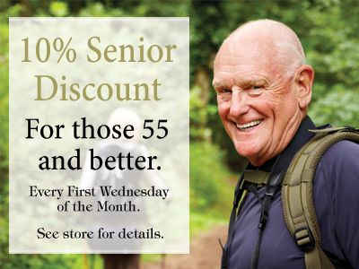 10% Senior Discount. For those 55 and better. Every first Wednesday of the month. See store for details. Senior Discount page