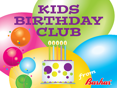 Kids Birthday Club from Bashas'. Kids Birthday Club page