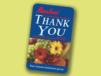 Bashas' Thank You Card illustration. Thank You Card page